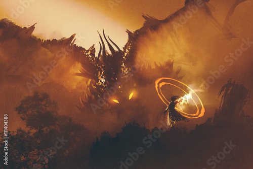 appel-du-dragon-magicien-convoquant-un-monstre-sorcier-lance-un-sort