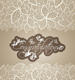Congratulations greeting card floral swirls with lace leaves bor