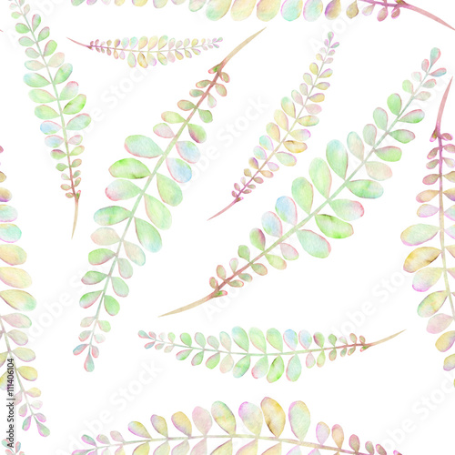 Seamless floral pattern with the abstract watercolor green and pink branches, hand drawn on a white background - 111406104