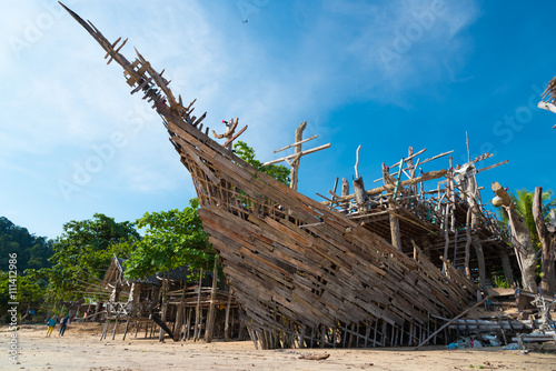 Fotobehang Schip Wood ship
