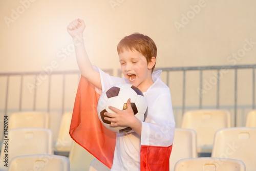 Poster Little boy - Polish football team fan