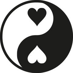 Yin Yan with hearts