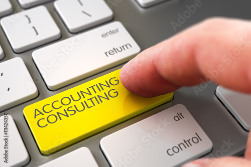 Fototapeta Selective Focus on the Accounting Consulting Key. Hand Finger Press Accounting Consulting Button. Modernized Keyboard with Accounting Consulting Yellow Button. 3D Render.