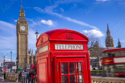 London, England - Classic Red Telephone Box and Big Ben and Houses of Parliament Poster