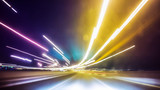 Blurred Abstract image of Long exposure night traffic light in the city - 111428339