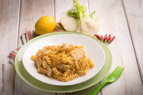 Foto: fusilli with fennel grated lemon peel and hot chili pepper