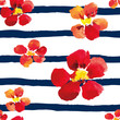 Materiał do szycia Bright red nasturtiums on the striped nautical background. Watercolor seamless pattern with big flowers.