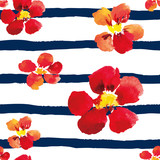 Bright red nasturtiums on the striped nautical background. Watercolor seamless pattern with big flowers.