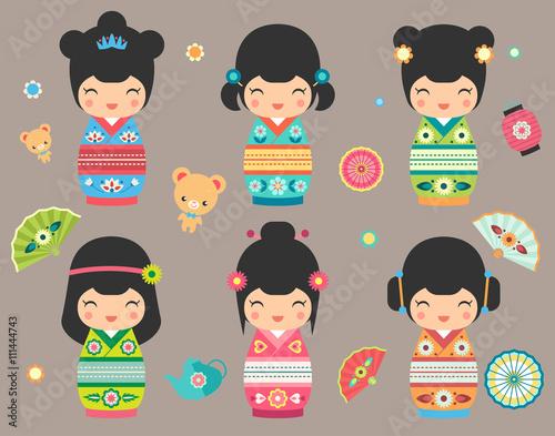 Set of Japanese Kokeshi Dolls - 111444743
