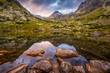 Mountain Lake with Rocks in Foreground at Sunset