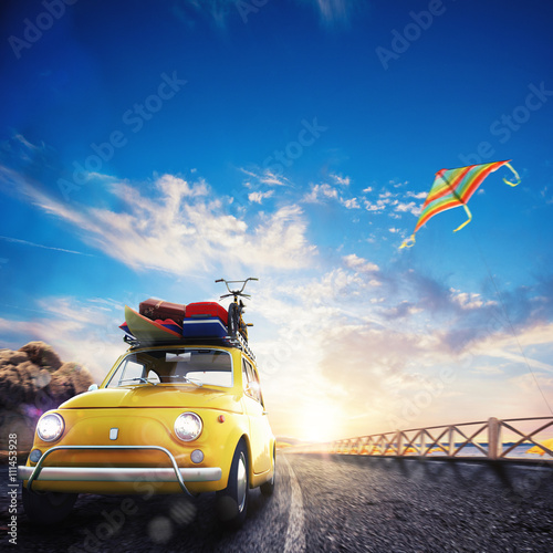 mata magnetyczna 3D rendering of holiday on the road
