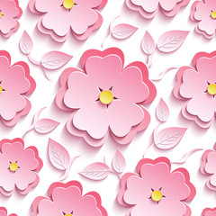 Floral seamless pattern with 3d sakura and leaves