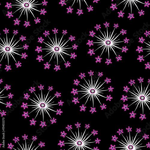 Zdjęcia na płótnie, fototapety, obrazy : Pink and black dandelion seamless pattern