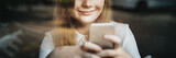 Fototapety Social Media Browsing Pretty Girl Youth Culture Concept