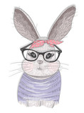 Cute hipster rabbit with glasses. Fashion bunny illustration - 111470572