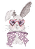 Cute hipster rabbit with glasses. Fashion bunny illustration - 111470582