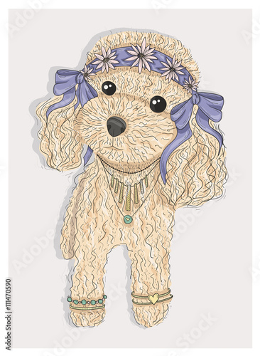 Cute hipster dog. Fashion illustration with poodle