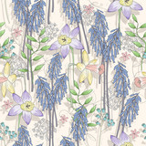 Cute seamless floral pattern. Background  with flowers. Vector i - 111470715