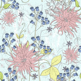 Cute seamless floral pattern. Background  with flowers. Vector i - 111470734