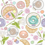 Seamless breakfast pattern with flowers, pastries and coffee. Ve - 111472534