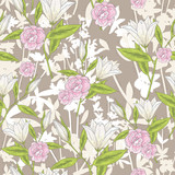 Seamless floral pattern. Vector background with lilly flowers an - 111472546