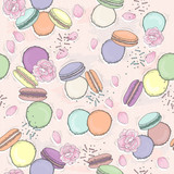Seamless  floral pattern with macaroons. Vector background with - 111472554