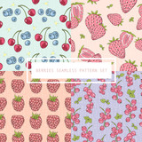 Seamless berries pattern set. Vector background with cherries, b - 111472578
