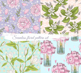 Seamless floral pattern set. Summer or spring vector background. - 111472594