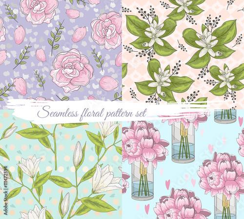 Seamless floral pattern set. Summer or spring vector background.