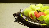 Net bag of colorful yellow and orange tennis balls for training lying on a racket at the side of an outdoor court  close up view with copy space.