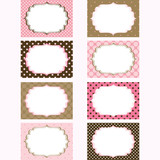 Fototapety Pink and Brown Printable Labels.Tags,Photo Frame, Gift Tags,Card Making,Invitation set.