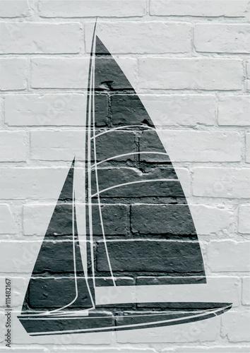 Naklejka Art urbain; voilier