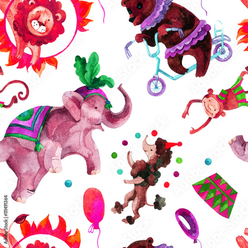 Cotton fabric Watercolor circus.