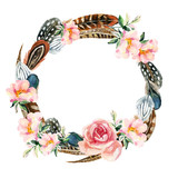 Watercolor wreath with bird feathers and flowers - 111491512