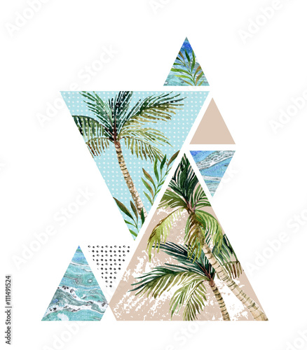 Abstract summer geometric background - 111491524