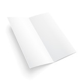 Blank Folded Paper Brochure With Shadows. On White Background Isolated. Mock Up Template Ready For Your Design. Vector EPS10