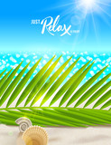 Summer vacation vector illustration. Tranquil and relax beach scene with palm tree branches, shells and sea horizon.