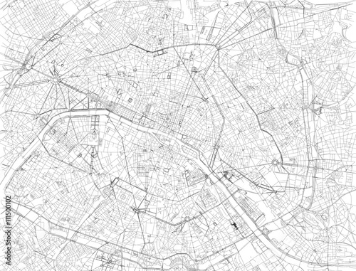 Mappa di Parigi, vista satellitare, strade e vie, Francia - 111500102