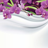 Vector purple orchids on white silk, fabric background.