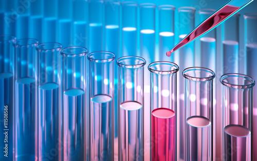 Staande foto Apotheek Testreihe Reagenzgläser im Labor