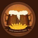 Two wooden beer mugs and wheat in vintage style - high quality beer concept.