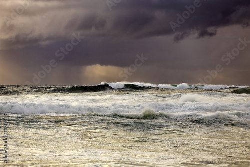 Rain and storm at sea with beautiful light