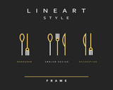 Fototapety Icon knife, fork and spoon. Icon khife. Icon spoon. Icon cutlery. Emblema cutlery