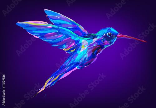 Śliczny czerwony egzotyczny ptak Colibri