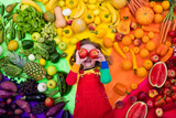 Fototapety Healthy fruit and vegetable nutrition for kids