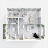Fototapety 3d interior rendering plan view of furnished home apartment with two balconies: room, bathroom, bedroom, kitchen, living-room, hall, entrance, door, window