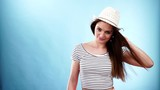Woman fashion summer girl with wind in long hair 4K
