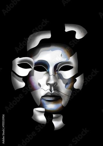 Fototapeta Eclatement en morceaux d'un masque de carnaval de Venise, laissant apparaître un autre masque