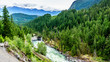 The Lillooet River and surrounding mountains just before Nairn Falls near the town of Pemberton in British Columbia, Canada