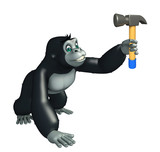 cute Gorilla cartoon character with hammer